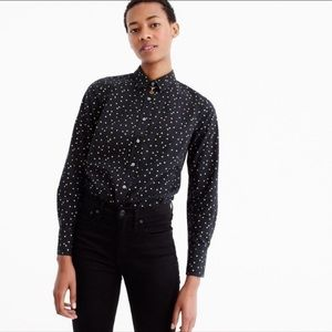NWT J. Crew Black/Gold Polka Dot Perfect Shirt